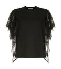 msgm camiseta com renda nas mangas - preto