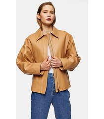 *camel clean leather biker jacket by topshop boutique - camel