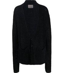 laneus oversized crocheted cardigan - black