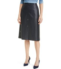 women's boss vefy perforated faux leather skirt, size 8 - blue