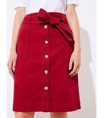 loft tie waist button front skirt
