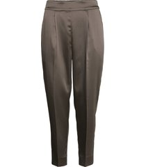 this elegant trousers are made from a luxurious po lyester s pantalon met rechte pijpen grijs second female
