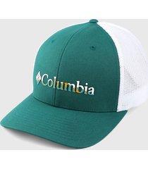 gorra verde oliva-blanco columbia mesh ball
