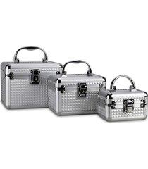 kit 3 maletas rubys alumínio organizadoras para maquiagem e jóias prata