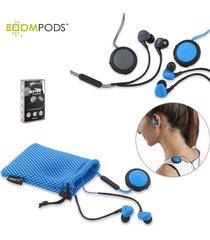 audifonos bluetooth sportpods race boompods resiste al sudor - negro/gris