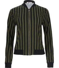 chaqueta estampada a rayas color negro, talla 10