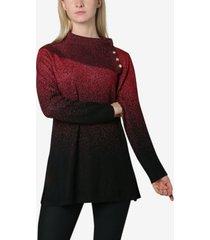 adrienne vittadini ombre jacquard split cowl neck sweater top