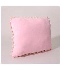 almofada retangular com pompons rosa