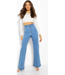 basic getailleerde denim uitlopende jeans, middenblauw