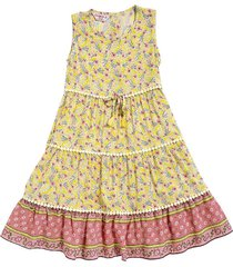 vestido amarillo en chalis con miniprint floral