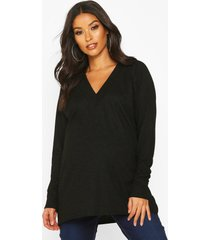 zwangerschap geribbelde tuniek sweater, zwart