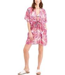 j valdi printed cinched-waist cover-up kimono women's swimsuit