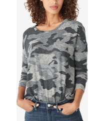 lucky brand hacci-knit camo-print top