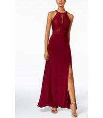 nightway petite lace-trim illusion halter gown