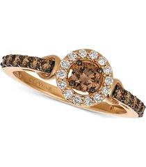 le vian chocolatier diamond halo ring (5/8 ct. t.w.) in 14k rose gold
