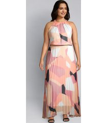 lane bryant women's geometric pleated maxi dress 22p peach geo print