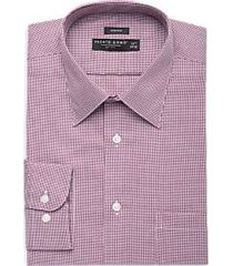 pronto uomo burgundy mini houndstooth dress shirt