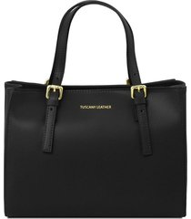 tuscany leather tl141434 aura - borsa a mano in pelle nero