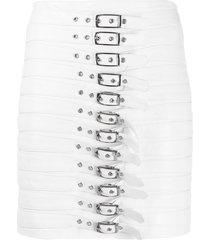 manokhi buckle detail pencil skirt - white