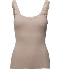 silk top regular w/rev vintage lace t-shirts & tops sleeveless beige rosemunde