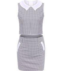 women'strendy peter pan collar checked sleeveless suit