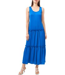 women's vince camuto sleeveless tiered maxi dress, size small - blue
