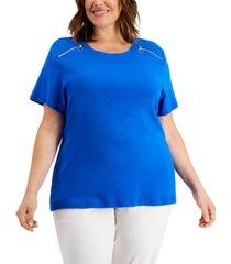 karen scott plus size cotton zipper-shoulder t-shirt, created for macy's