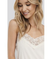na-kd lingerie lace detail night dress - white