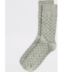 river island mens grey ri monogram printed socks