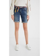 denim shorts with fabric belt - blue - 34