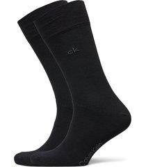 ck men crew 2p casual flat knit cot underwear socks regular socks svart calvin klein