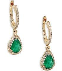 effy women's 14k yellow gold emerald & diamond dangle drop earrings