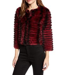 women's la fiorentina rex genuine rabbit fur jacket, size small/medium - purple