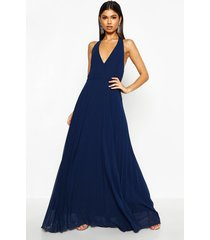 chiffon pleated plunge maxi bridesmaid dress, navy