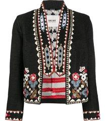 bazar deluxe beaded cropped jacket - black