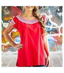 cotton blouse, 'crimson afternoon' (mexico)