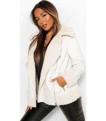 petite faux fur aviator jacket, crème