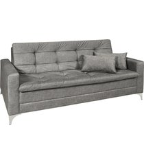 sofá cama 3 lugares facility reclinável mescla império estofados cinza