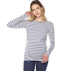 camiseta maternidad mng larga blanco raya navy moms closet,