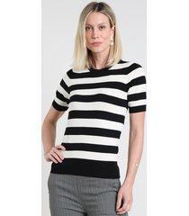 blusa feminina listrada em tricô manga curta decote redondo branca