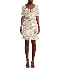 lucca women's beatrice ruched dotted dress - beige - size l