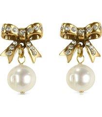 alcozer & j designer earrings, little bow earrings w/pearls