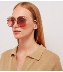 chloé women's poppy octagon frame sunglasses - havana/brick rose