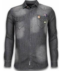 bread & buttons denim shirt grijs