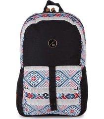 mochila casual para notebook hang loose astral em algodão e jacquard estampada