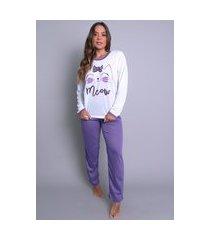 pijamas mvb modas longo fechado adulto  inverno roxo