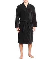 men's polo ralph lauren cotton fleece robe, size small/medium - black