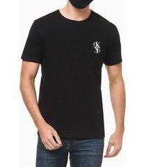 camiseta masculina logo mirror preta calvin klein jeans - pp