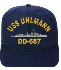 uss uhlmann dd-687 embroidered ship cap