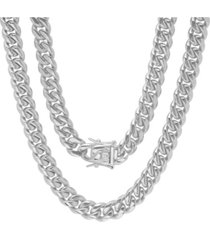 """steeltime men's stainless steel 30"""" miami cuban link chain with 10mm box clasp necklaces"""